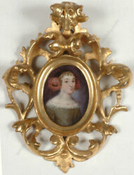 Portrait Of A Young Lady German Oil Miniature On Copper Ca.1660