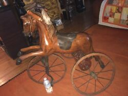 Horse Tricycle wood & iron child's horse tricycle wood & Iron wheels Pedal Car