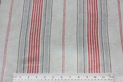 Charming Faded Brick And Tan Antique Linen French Farmhouse Ticking Fabric C1900