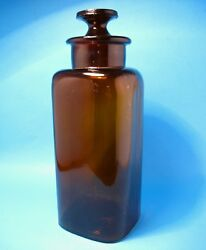 """Antique 1920 9.5"""" Amber Heavy Glass Apothecary Pharmacy Empty Container/jar"""