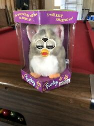1998 Furby Model 70-800 Gray/white Belly And Pink Ears