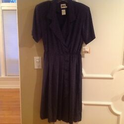 Leslie Fay Blue Polka Dot Dress Miss Size 14p new with tag