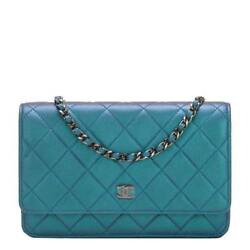Chanel Iridescent Turquoise Lambskin Classic Wallet On Chain (WOC)