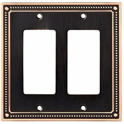 Wall Plates W35065-VBC-C Classic Beaded Double Decorator Switch Cover Bronze