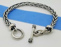925 Sterling Silver 5'mm Woven Wheaten Braided Chain 7.5' Inch Toggle Bracelet