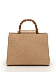 GUCCI Gucci Nimufea tote bag 2WAY Pearl with double bamboo handle ostrich beige