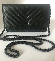 NWT CHANEL SO BLACK LIMITED EDITION CHEVRON PATENT WOC WALLET ON CHAIN