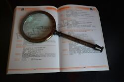 Brass Antique Hand-held Reading Magnifier Magnifying Glass Jewelry Loupe