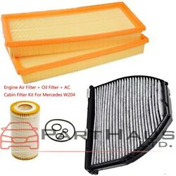 For Mercedes W204 E550 C300 Air Filter + Oil Filter + AC Cabin Filter Set of 4