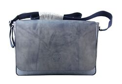 Ghurka Blue Leather And Canvas Imperial Crew Messenger Cross Body Flop Bag New Usa