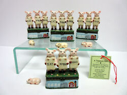 New Pig Hinged Box Set 16 Pigs Eat More Tofu Lamb Beef Poultry 4 Trinket Boxes