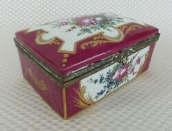 Beautiful Large Antique Limoges Hinged Trinket Box Red Floral With Gold Accents