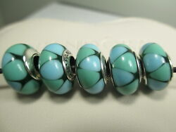 5 Authentic Pandora Sterling Silver 925 Ale Captivating Green Glass Beads Charms