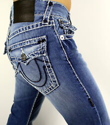 True Religion Ricky Relaxed Straight Natural Super T Jeans - 101768 Size 40 42