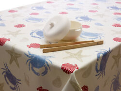 Blue Red and Taupe Seashells and Crabs Oilcloth WipeClean Tablecloth Many Sizes