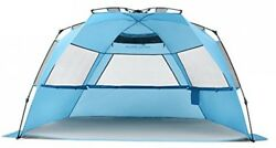 Deluxe XL Blue Beach Shelter Sunshade Cover Hub Tent Fit 3-4 5 Sand Bags NEW USA