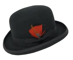 Different Touch 100 Wool Felt Derby Bowler With Removable Feather Fedora Hats