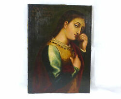 Large Portrait Painting Picture Oil On Canvas 19 Jh Signed Italy Venezia