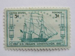 Vtg US Frigate Constitution US Stamp Lot of 4 1797-1947 Anniversary Ship Cannon