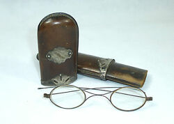 Seltenes Glasses Case About 1830 England Silver Leather Glasses