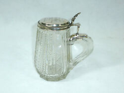 Rare Glass Jug With Silberdeckel Glas Pitcher Beer Jug Silver 1877 Engraving