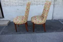Pair Of Hollywood Regency Mahogany Side Chairs New Upholstery