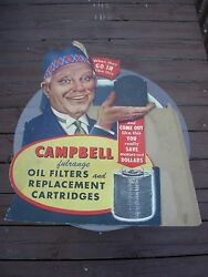 1900-1920s Gas And Oil Oil Filters Original Diecut Store Display.