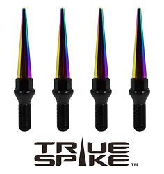 20 True Spike 14x1.5mm 40mm Shank Steel Lug Nut Bolts Neo Chrome Extended Spikes