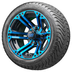12 Rhox Rx334 Blue And Black Golf Cart Wheels And Low Profile Tires Combo Set Of 4
