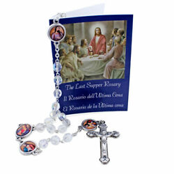 Rosary Clear Crystal Beads Apostles The Last Supper Booklet