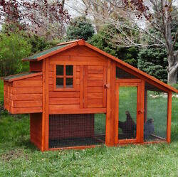 Wood 4 Chicken Coops Run Outdoor Hen House Backyard Small Animal Cage Coop Home