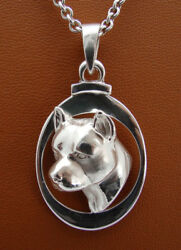 Sterling Silver Pit Bull Terrier AM Staff Head Study On a Vertical Frame Pendant
