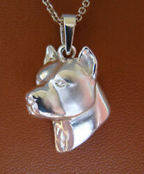 Sterling Silver Pit Bull Terrier Head Study Pendant
