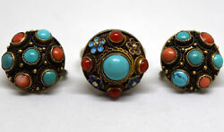 Vintage Chinese Silver, Coral And Turquoise Screwback Earrings And Ring Set