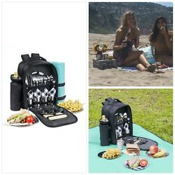 One Savvy Girl Picnic Backpack for 4 with Premium Stainless Steel Tableware - Co