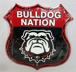 Georgia Bulldog Nation Novelty Route Badge Shield Sign Distressed Look Game Room
