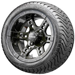 12 Rhox Rx252 Black Golf Cart Wheels And Low Profile Tires Combo Set Of 4