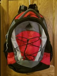 Adidas Bag Backpack for School Sports Travel Laptop in Black red Gray 17x14x7