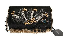 NEW $2500 DOLCE & GABBANA Bag Purse ANNA Black Sequined Crystal Evening Clutch