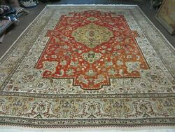 9' X 12' Vintage Hand Made Indian Agra Wool Rug Tomato Red Beige Nice