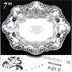 Antique Whiting Gorham Sterling Silver7 Bowl Floral Bas Relief J.e. Caldwell