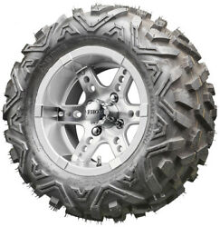 12 Rhox Rx251 Machined And Silver Golf Cart Wheels And All Terrain Tires Combo