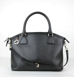 Gucci Black Leather GG Charm Convertible Dome Bag Wdetachabel Strap 449660 1000