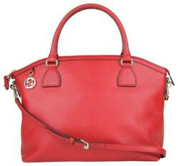 Gucci Red Leather GG Charm Convertible Dome Bag Wdetachabel Strap 449660 6420