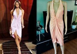 Gianni Versace Vintage Ss05 Runway Peach Sexy Plunging Open Back Dress