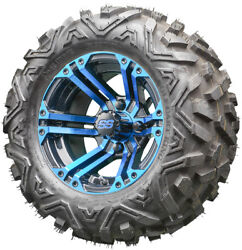 12 Rhox Rx334 Black And Blue Golf Cart Wheels And All Terrain Tires Combo Set Of 4