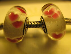 2 Pandora Silver 925 Ale Pink Wild Hearts Murano Glass Beads Charms 791649 New