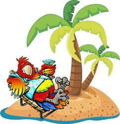 Parrot with drink beach palm tree cornhole game board vinyl graphic decals B