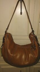 Designer MICHAEL KORS Brown Leather Hobo Handbag Shoulder Bag Tote Purse