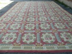 13and039 X 20and039 Hand Made French Aubusson Weave Savonnerie Needlepoint Rug Nice 785a
